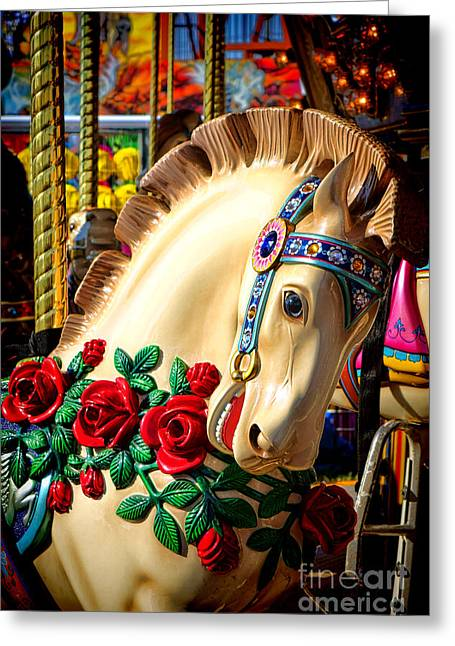 Carousel Horse  Greeting Card by Olivier Le Queinec