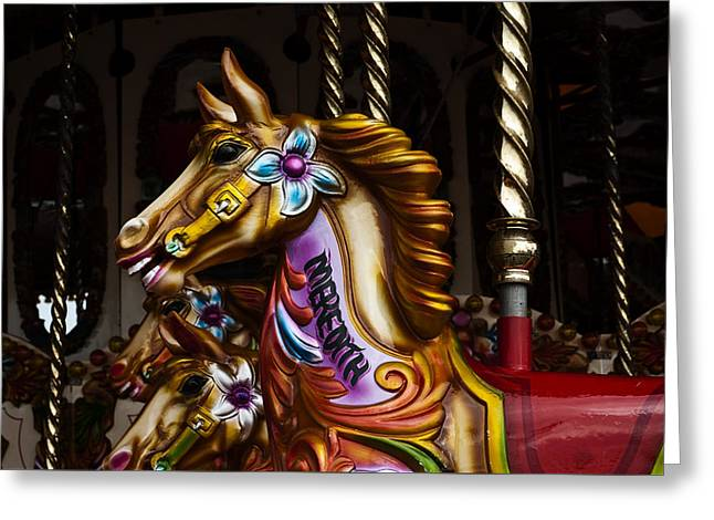 Greeting Card featuring the photograph Carousel Horses by Steve Purnell