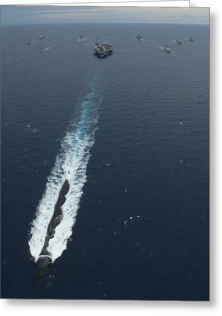 Nimitz-class Greeting Cards - Carrier Strike Group Formation Of Ships Greeting Card by Stocktrek Images