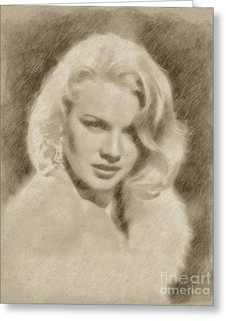 Carroll Baker Vintage Hollywood Actress Greeting Card by Frank Falcon