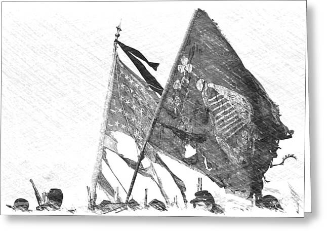 Carrying Their Colors - Sketch Greeting Card by Linda Allasia