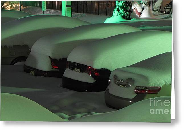 Cars Covered In Snow Greeting Card by Ben Schumin
