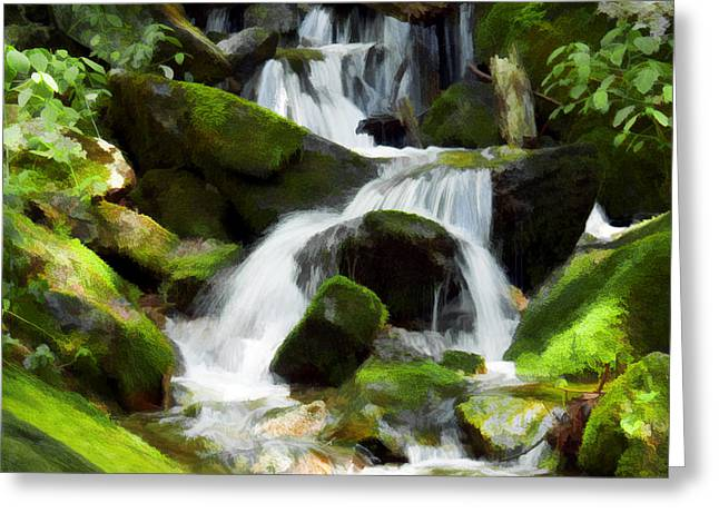 Cascading Blue Ridge Water Falls Digital Art Greeting Card