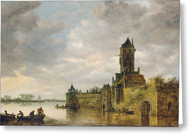 Castle By A River Greeting Card