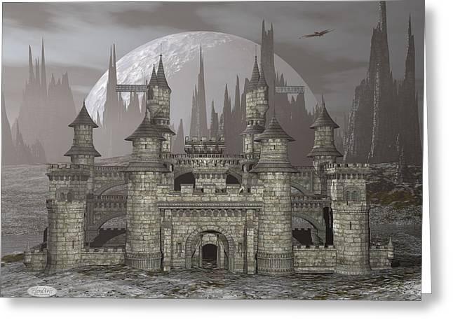 Castle By Night - 3d Render Greeting Card by Elenarts - Elena Duvernay Digital Art