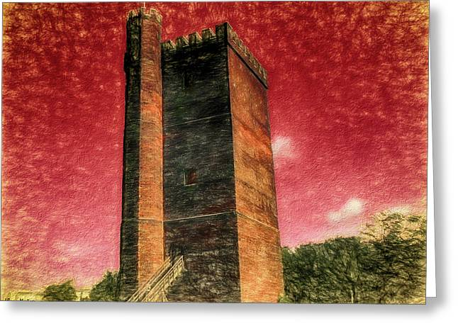 Castle Of Helsingborg In Color Painting Greeting Card
