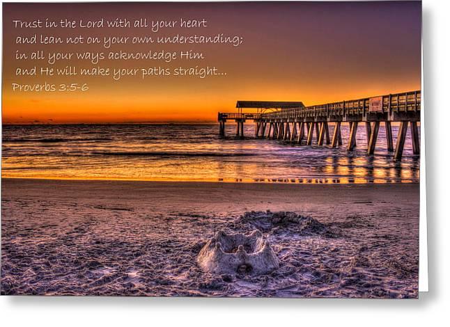 Castles In The Sand 2 Tybee Island Pier Sunrise Greeting Card by Reid Callaway