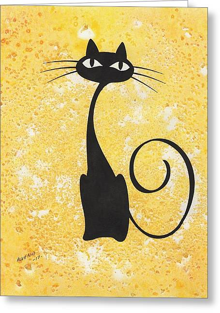 Cat Greeting Card by Edwin Alverio