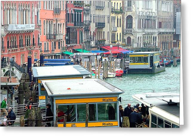 Catching The Ferry In Venice Greeting Card by Mindy Newman