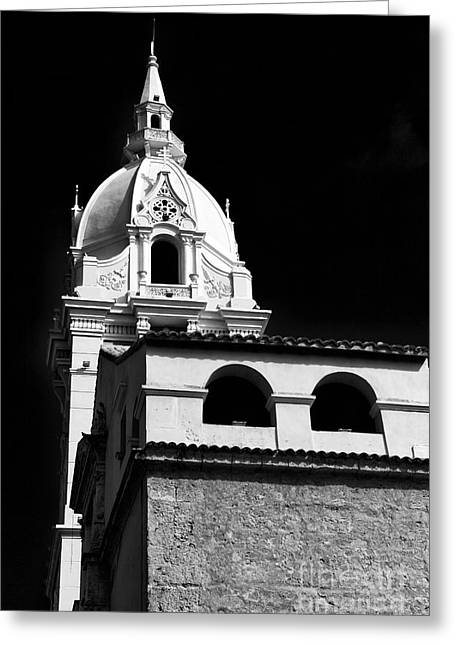 Cathedral In Cartagena Greeting Card by John Rizzuto