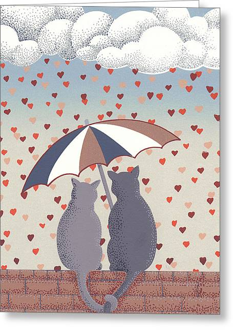Cats In Love Greeting Card by Anne Gifford