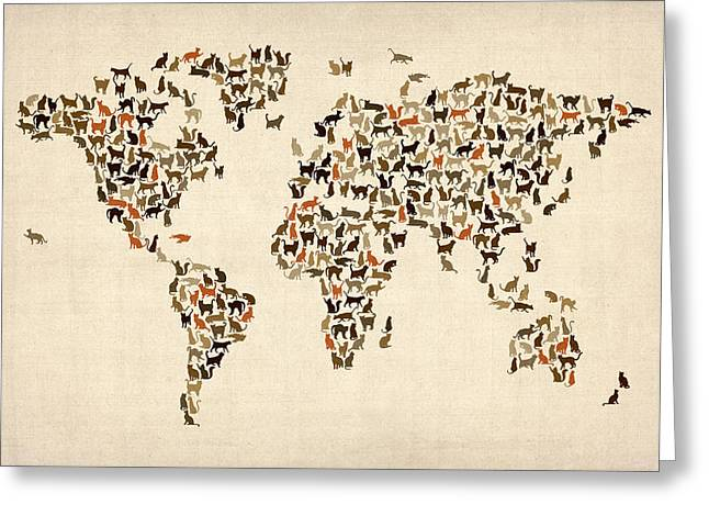 Map Of The World Greeting Cards - Cats Map of the World Map Greeting Card by Michael Tompsett