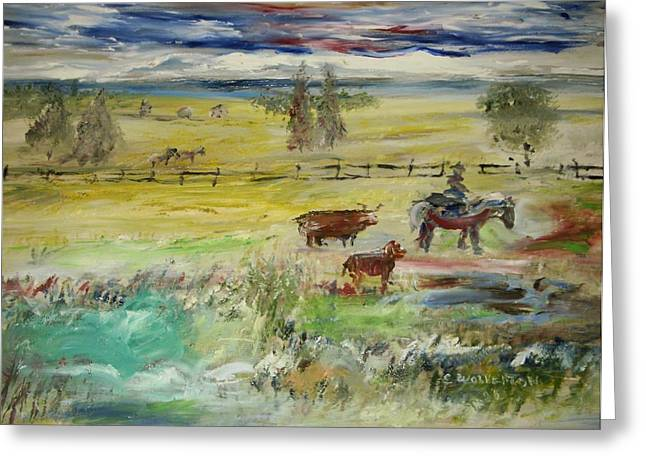 Cattle Drive Greeting Card by Edward Wolverton
