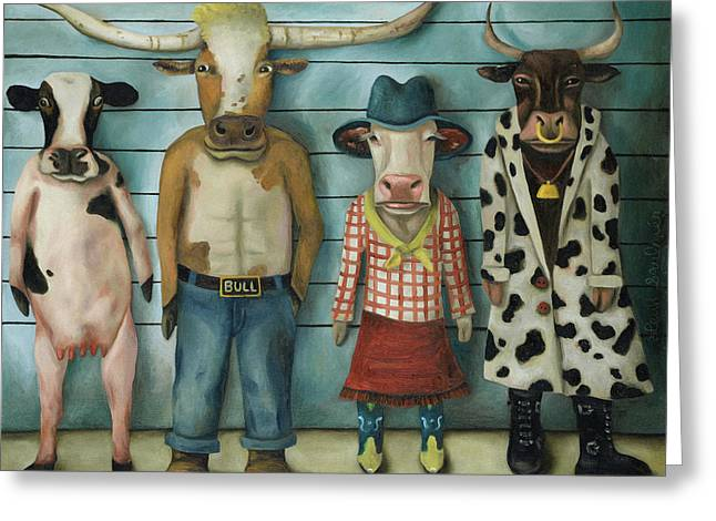 Cattle Line Up Greeting Card by Leah Saulnier The Painting Maniac