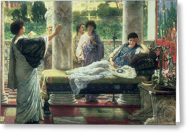 Catullus Reading His Poems Greeting Card by Sir Lawrence Alma-Tadema