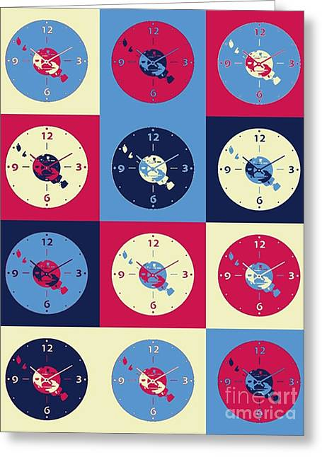 Cds Music Clock Greeting Card by Victor Arriaga
