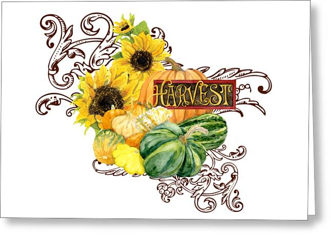 Celebrate Abundance - Harvest Fall Pumpkins Squash N Sunflowers Greeting Card by Audrey Jeanne Roberts