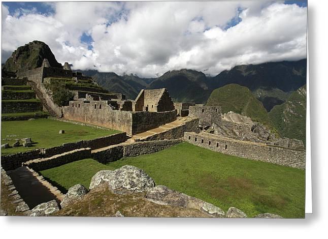 Central Plaza At Machu Picchu Greeting Card by Aidan Moran