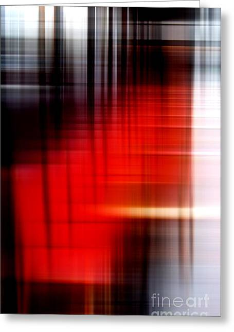 Chaises Rouges Greeting Card by John Rizzuto