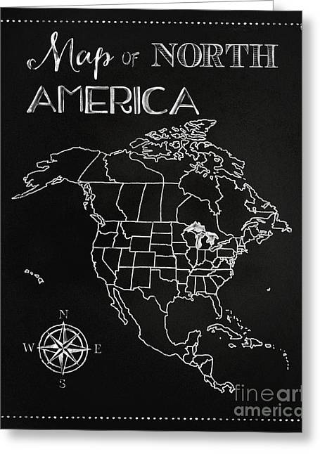 Chalkboard Map Of North America Greeting Card by Tina Lavoie