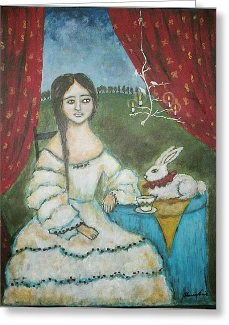 Rabbit In Cup Greeting Cards - Chamomile Dreams Greeting Card by Shannon Nicole