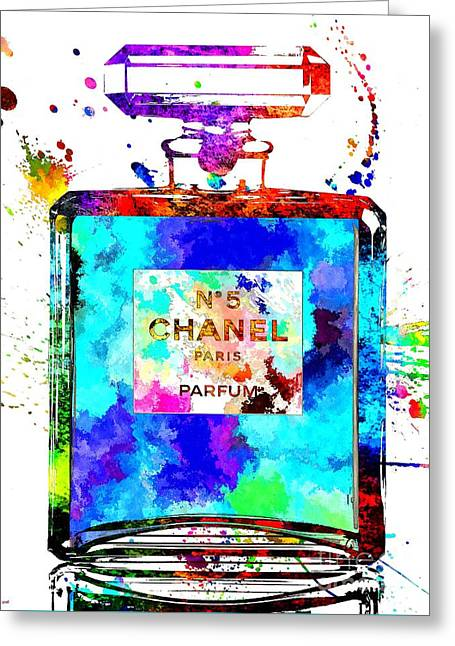 Chanel No. 5 Grunge Greeting Card by Daniel Janda