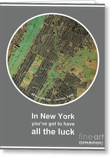 Charles Bukowski Quote Of New York City Greeting Card