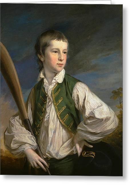 Charles Collyer As A Boy, With A Cricket Bat Greeting Card