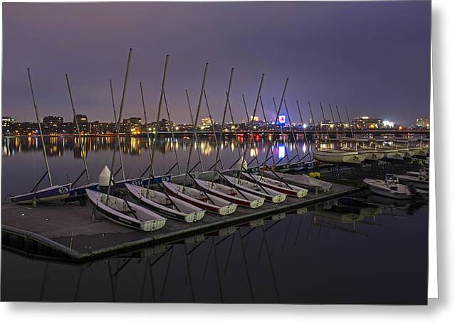 Charles River Boats Clear Water Reflection Greeting Card
