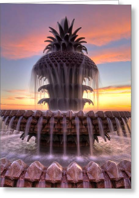 Charleston Pineapple Fountain Sunrise Greeting Card by Dustin K Ryan