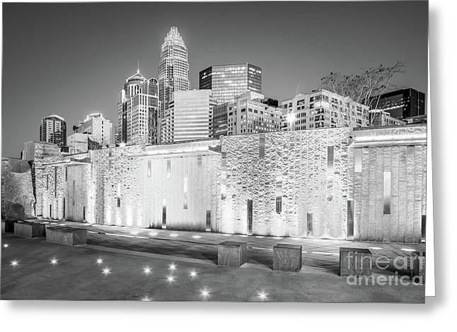 Charlotte At Night Black And White Photo Greeting Card by Paul Velgos