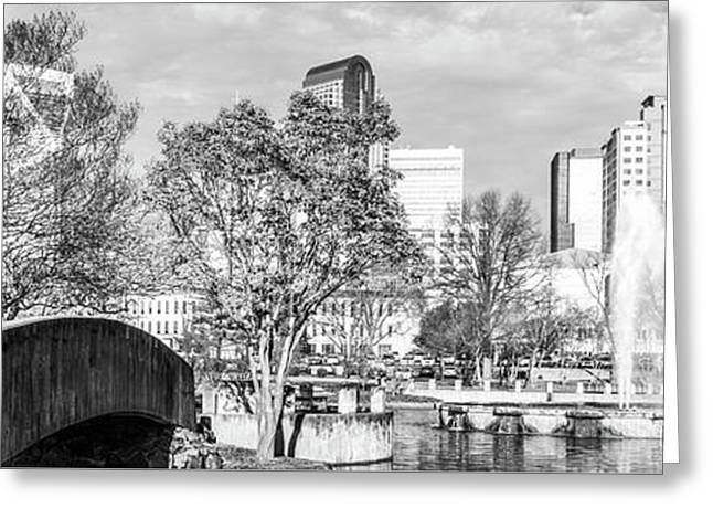 Charlotte Panorama Black And White Photo Greeting Card by Paul Velgos