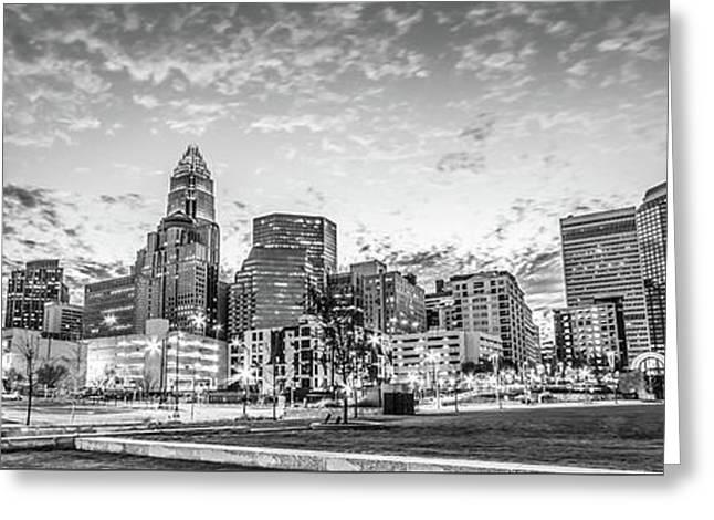 Charlotte Skyline Black And White Panorama Photo Greeting Card