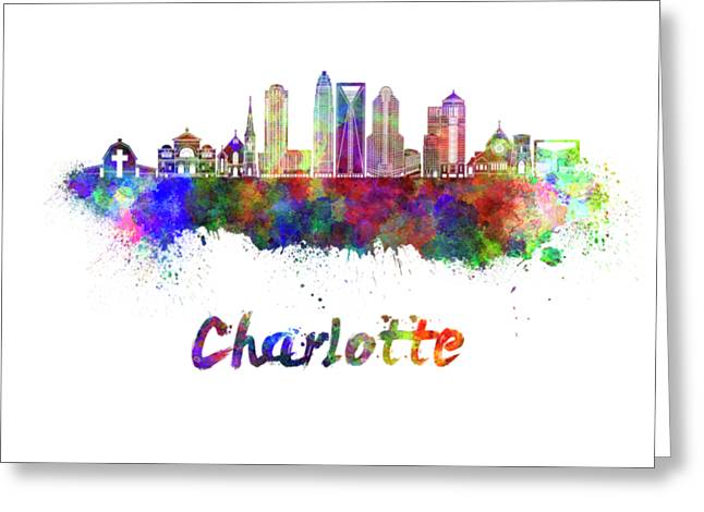 Charlotte Skyline In Watercolor Greeting Card by Pablo Romero