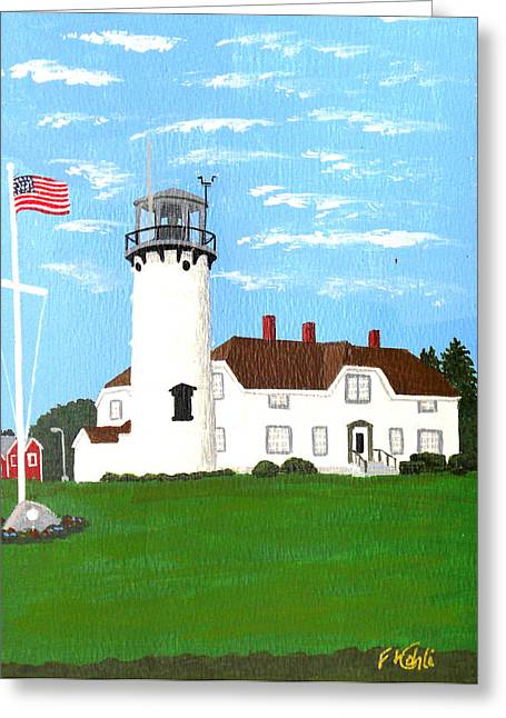 Chatham Lighthouse Painting Greeting Card by Frederic Kohli