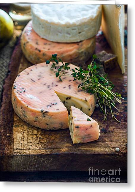 Cheese On Wood Greeting Card by Mythja Photography