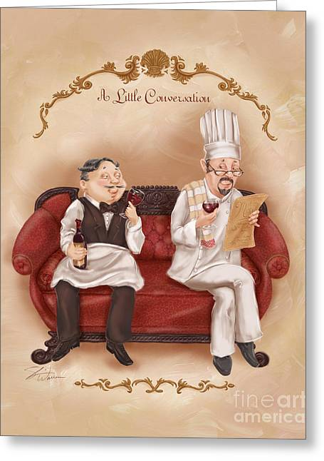 Chefs On A Break-a Little Conversation Greeting Card by Shari Warren