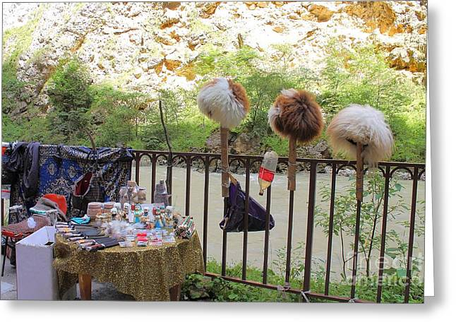 Chegem Canyon, Caucasus, Russia. Local Market. Against The Backdrop Of A Mountain River. Greeting Card