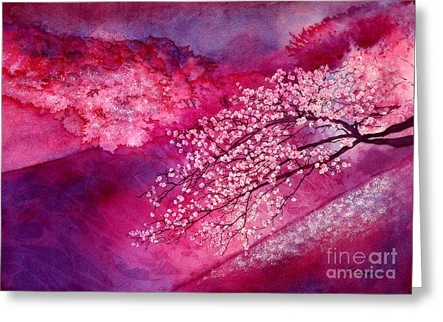 Greeting Card featuring the painting Cherry Blossoms by Hailey E Herrera