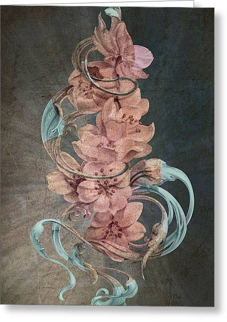 Cherry Blossoms On Blue Greeting Card by Irina Effa