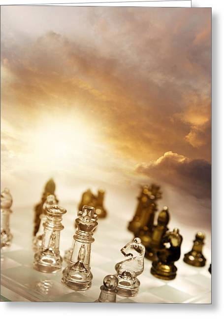 Chess Game Greeting Card by Les Cunliffe