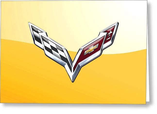 Chevrolet Corvette 3d Badge On Yellow Greeting Card