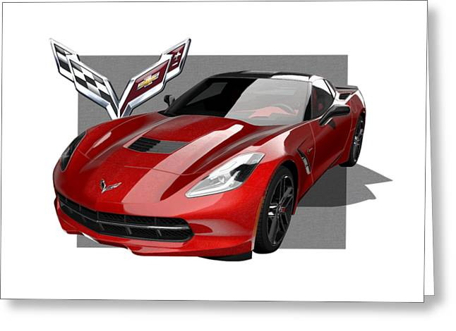 Chevrolet Corvette  C 7  Stingray With 3 D Badge  Greeting Card
