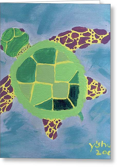Chiara Greeting Cards - Chiaras Turtle Greeting Card by Yshua The Painter