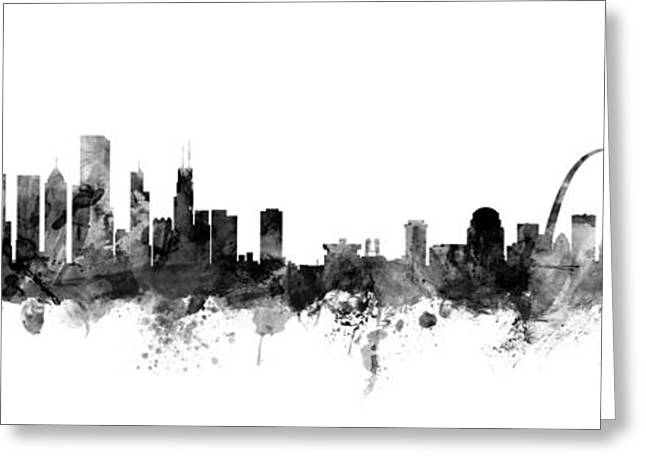 Chicago And St Louis Skyline Mashup Greeting Card