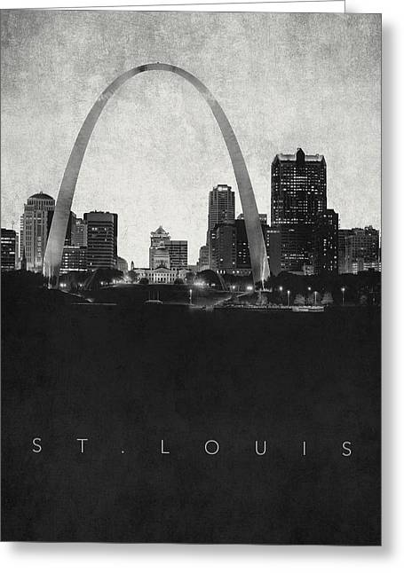 St. Louis City Skyline - Urban Noir Greeting Card