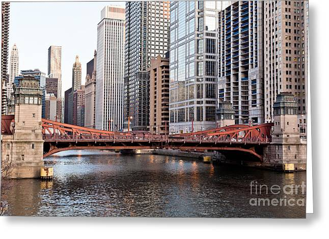 Chicago Downtown At Lasalle Street Bridge Greeting Card by Paul Velgos