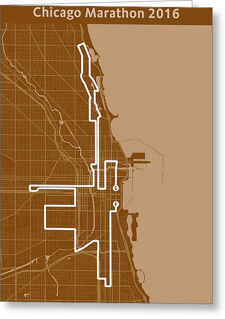 Chicago Marathon Brown Greeting Card by Big City Artwork