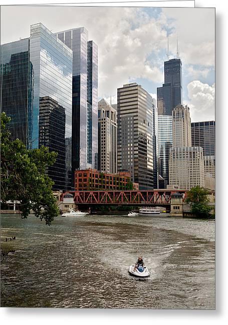 Chicago River Jet Ski Greeting Card