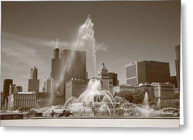 Chicago Skyline And Buckingham Fountain Greeting Card by Frank Romeo